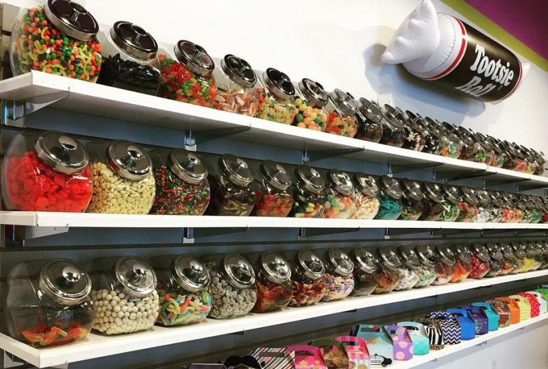 Wall of candy jars at DK Sweets