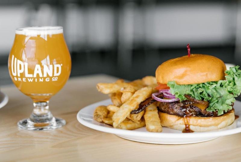 Burger, fries, and beer from Upland Brewpub