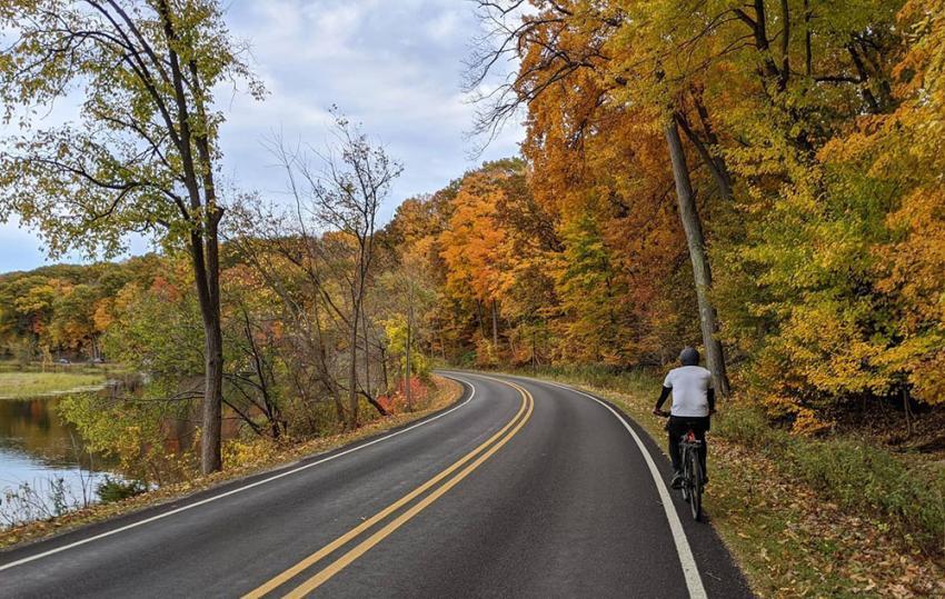 Fall bike ride along Huron River