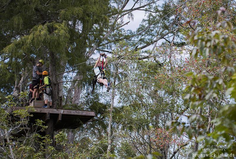 Zipline at The Green Swamp Park in Ocean Isle Beach, North Carolina.