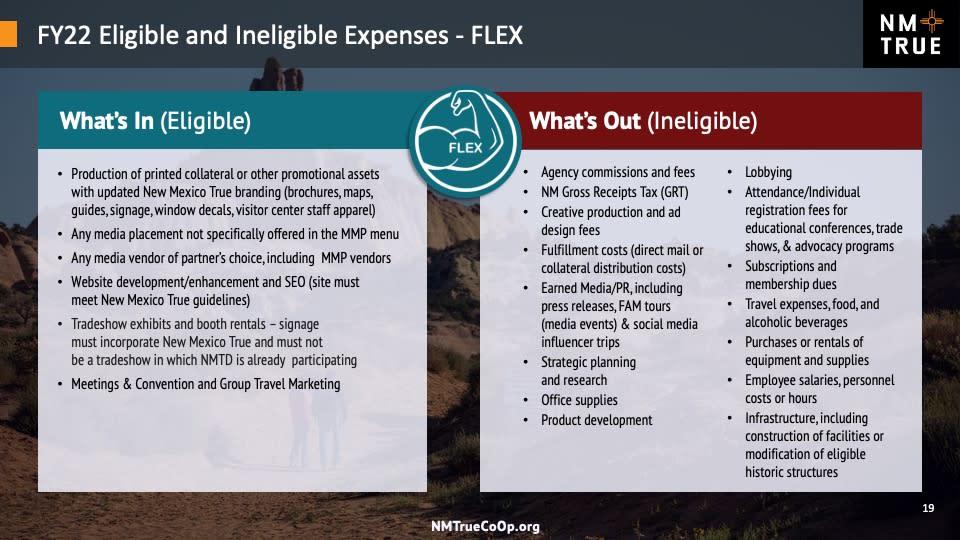 CoOp Flex Eligible/Ineligible Expenses FY22