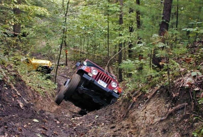 Two Jeeps navigating the off-roading trails at Redbird State Recreation Area
