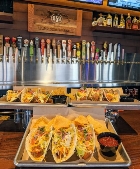 tacos and beer on tap at 859 taproom in florence ky