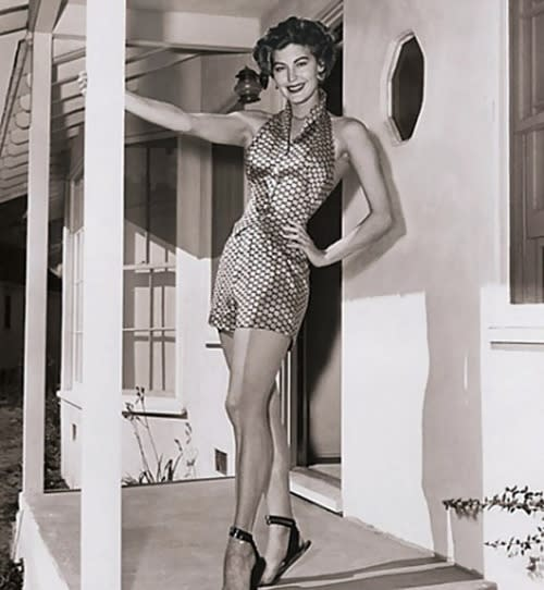 Ava Gardner standing on her porch in Nichols Canyon