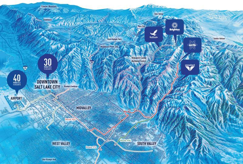 Salt Lake valley map with ski resorts marked