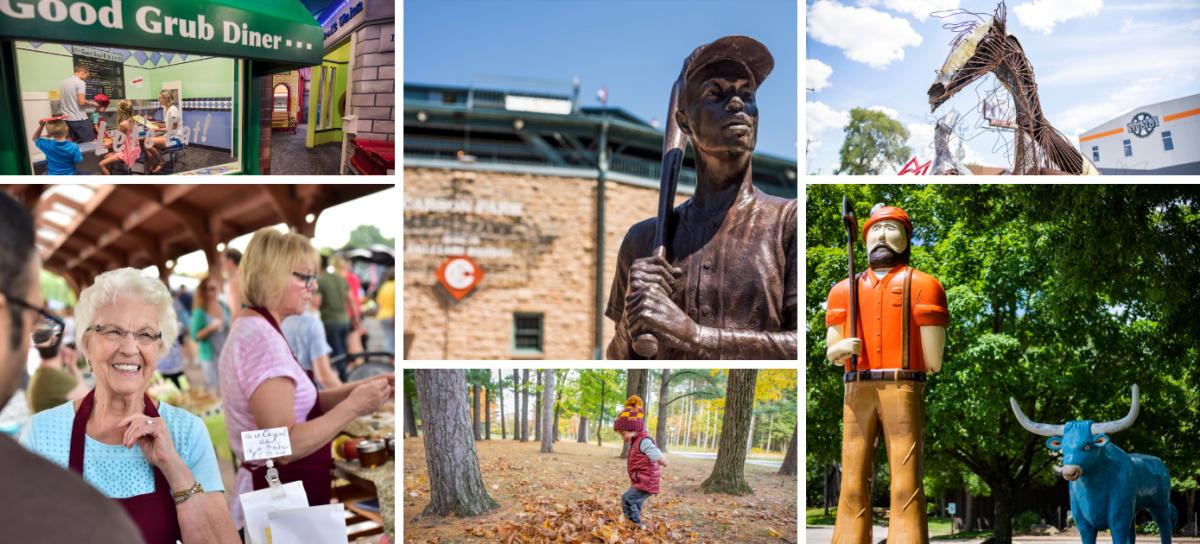 Collage of photos of family-friendly things to do in Eau Claire