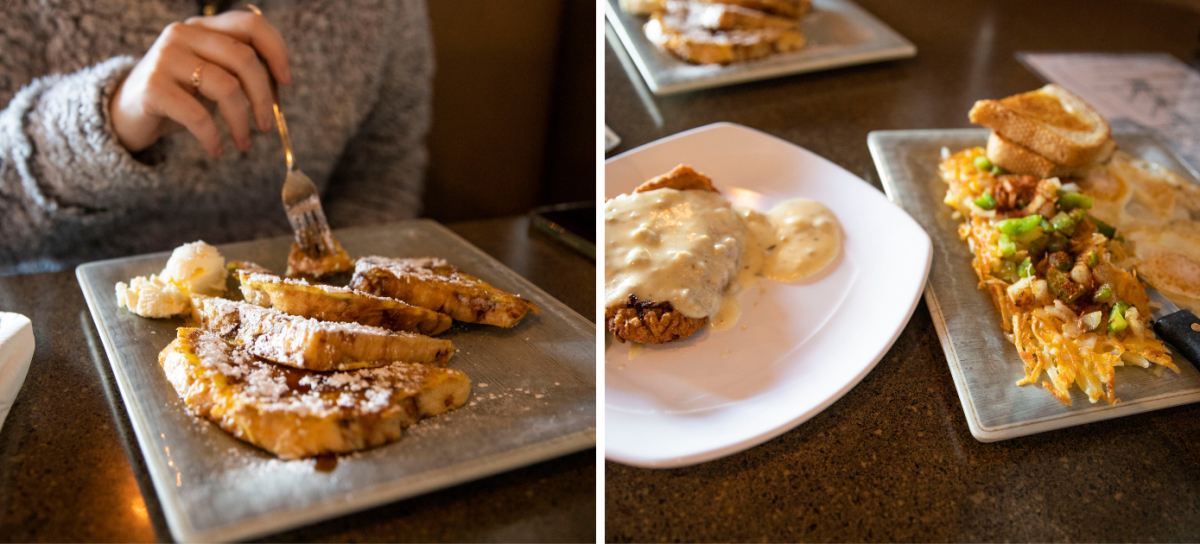 """Collage of photos of Cinnamon Chip French Toast and """"Chuckies"""" Breaded Pork Tenderloin from The Keg & Patio."""