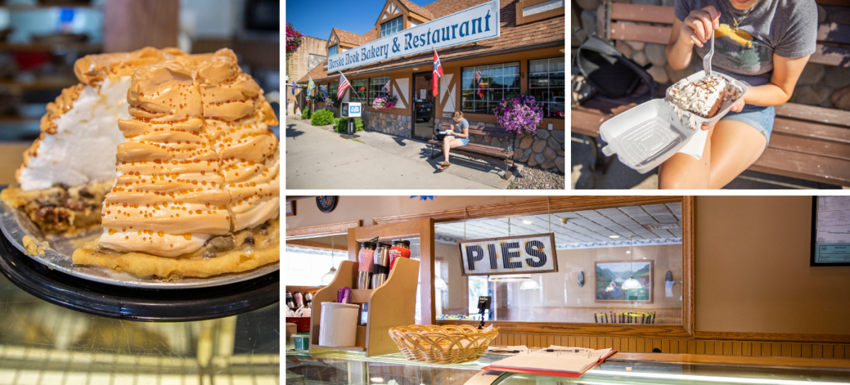Collage of photos of pie from the Norske Nook in Osseo