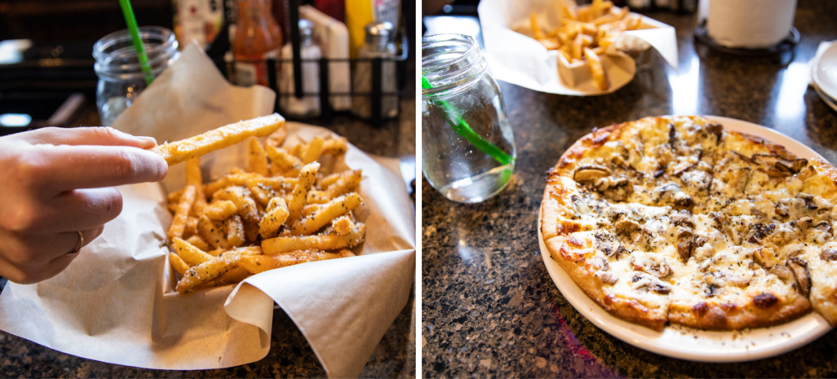 Fries and pizza served at State Street Tap in Mauston, WI