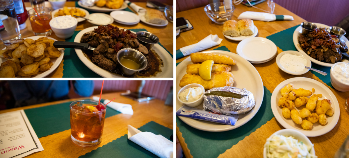 Collage of food photos from Wason's Supper Club in Galesville, WI