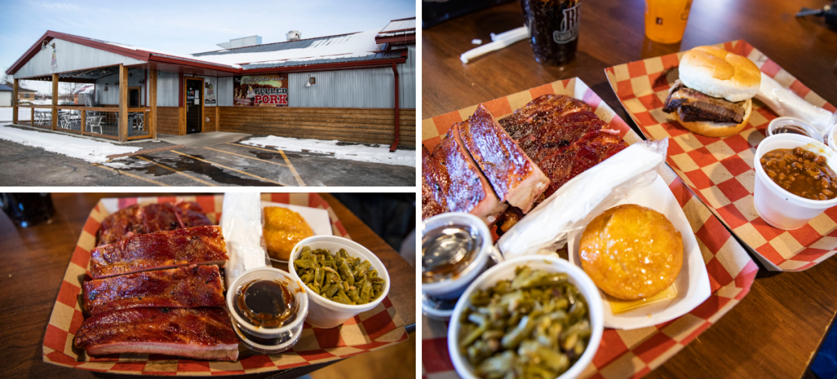 Collage of photos of BBQ from BP Smokehouse in Tomah, WI