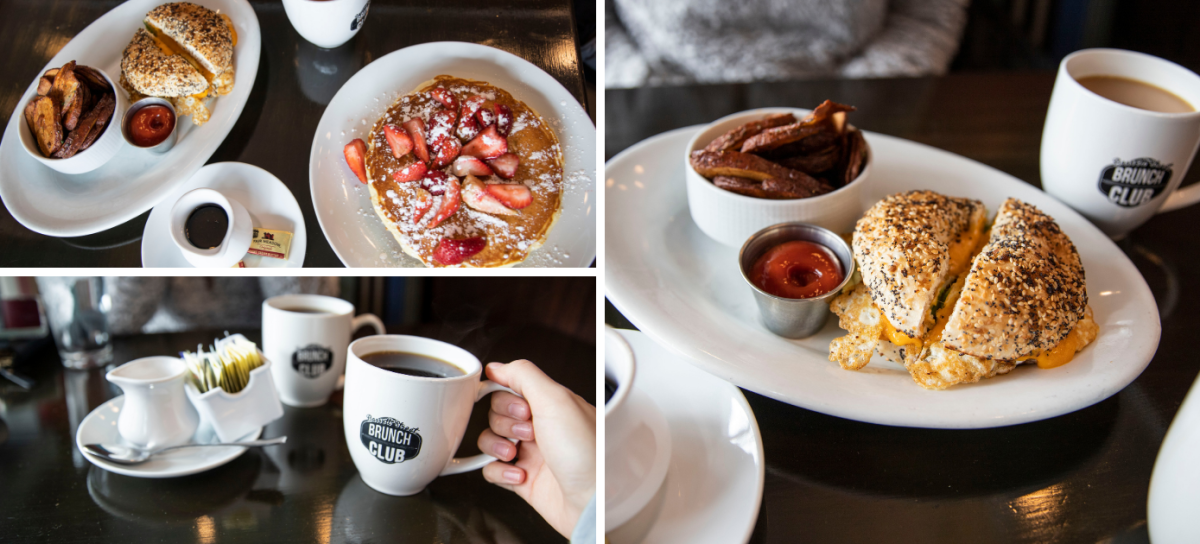 Collage of breakfast meals available at Basset Brunch Club in Madison, WI