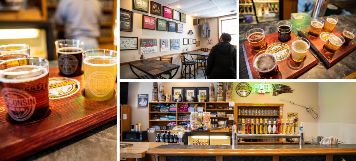 Collage of photos of the different brews from Sand Creek Brewing Company in Black River Falls, WI
