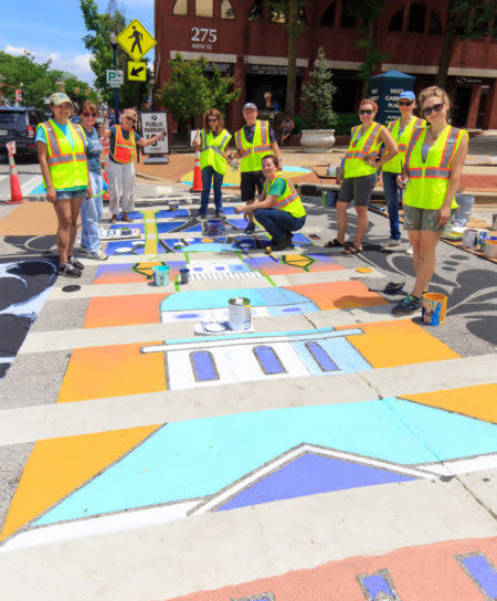Artwalk crosswalks with Bates Middle School PVA students