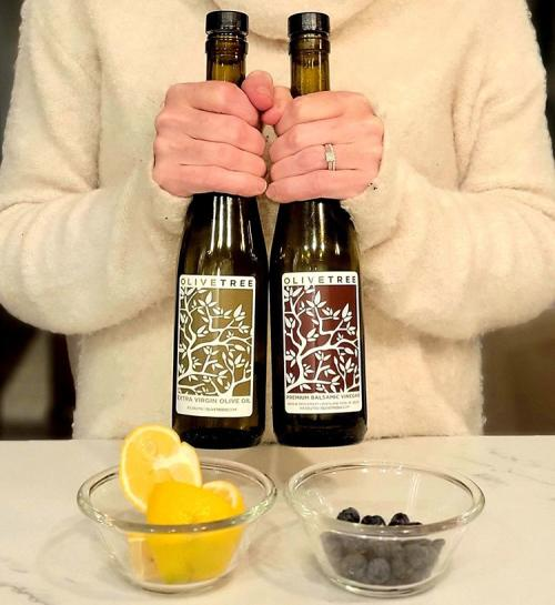 Bottles of olive oil and balsamic vinegar from Olive Tree KC