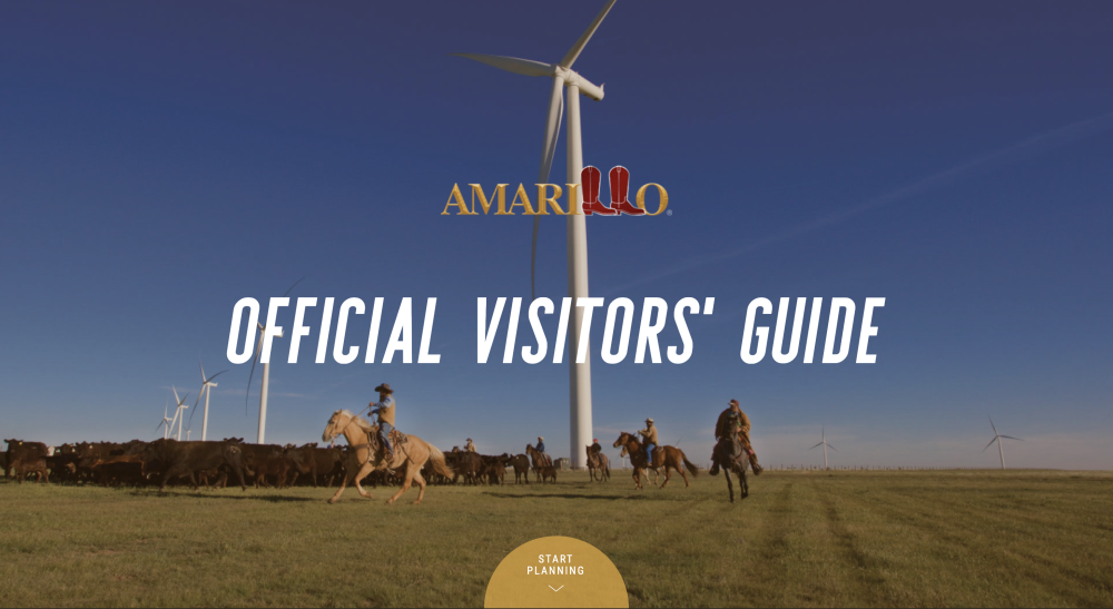 2021 Digital Visitor Guide Cover cowboys on horseback herding cattle with massive wind turbines in the distance
