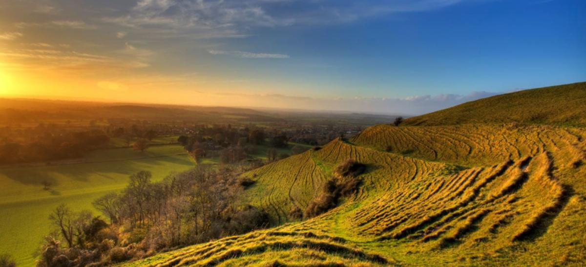 View from Hambledon Hill, Dorset at sunset