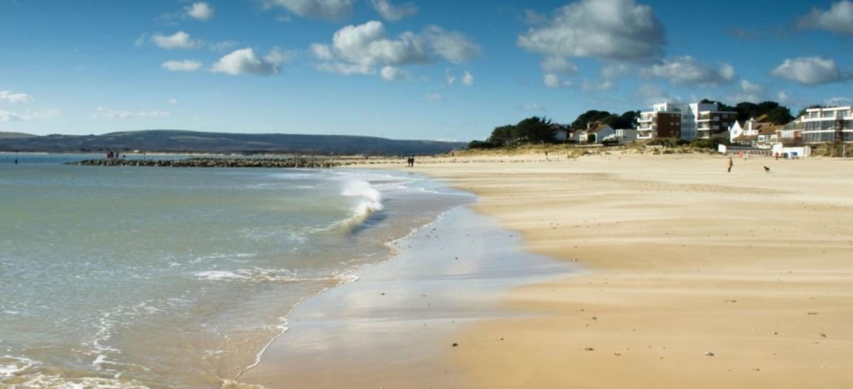Golden sands at Sandbanks beach in Poole