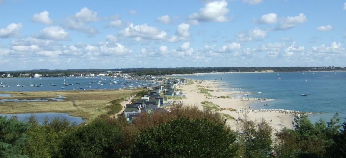 View of Mudeford Sandbank from Hengistbury Head in Dorset