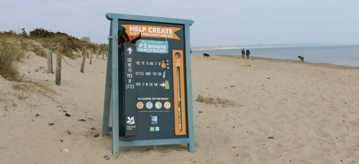 2 Minute beach clean information board at Studland, Dorset