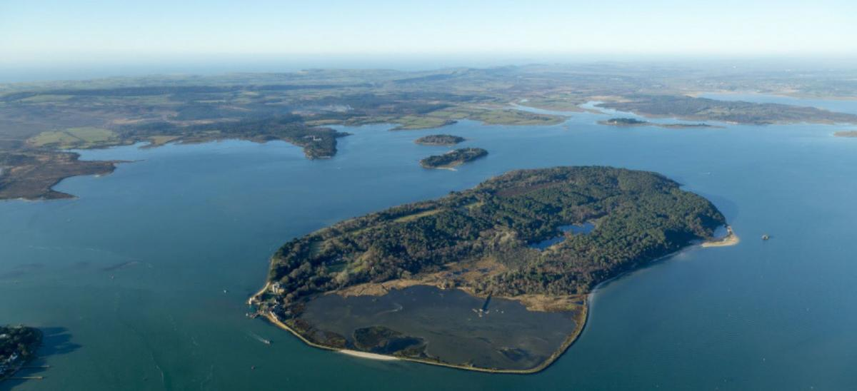 Brownsea Island aerial view - photo credit National Trust and John Miller