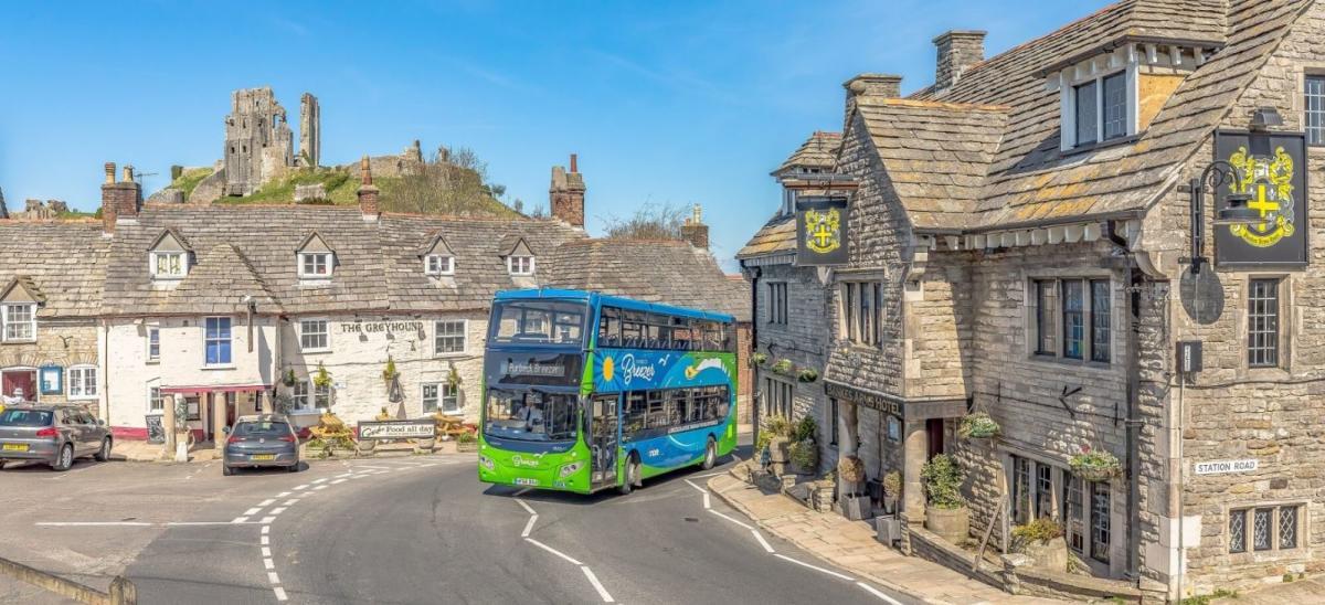 Purbeck Breezer bus at Corfe Castle, Dorset