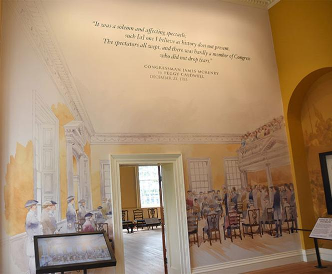 A mural depicting Washington resigning his commission as Commander of the Continental Army.