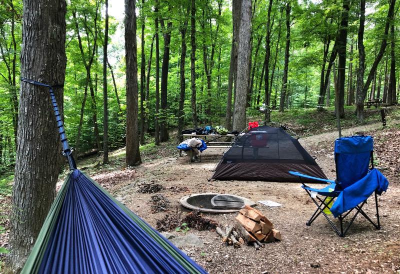 Campsite set-up at Hardin Ridge Recreation Area