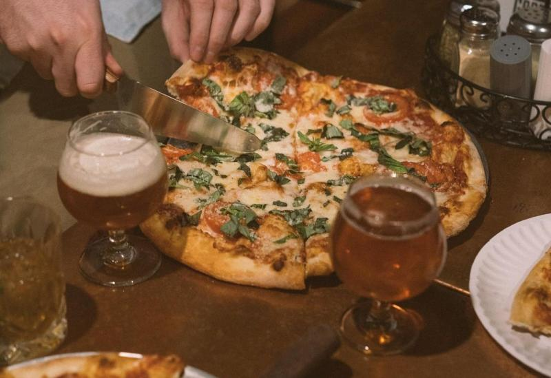 Pizza and beer from Goodfellas