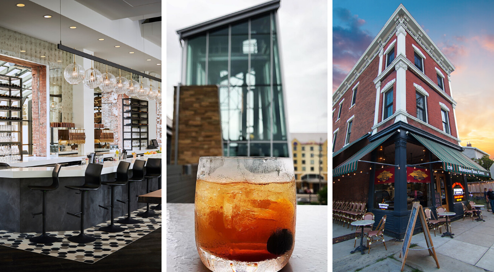 Three photos, one of the bar at the Hotel Covington, one outside at New Riff Distilling with a cocktail in the foreground and the one on the right of the exterior of Prohibition Bourbon Bar in Newport, Ky.