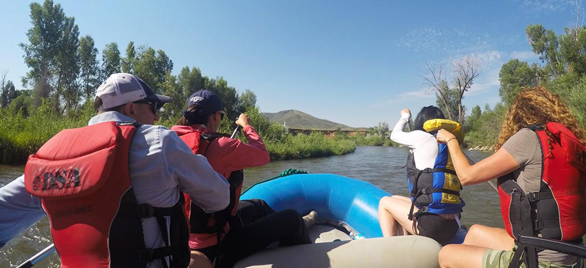 view from back of raft going down the Weber River