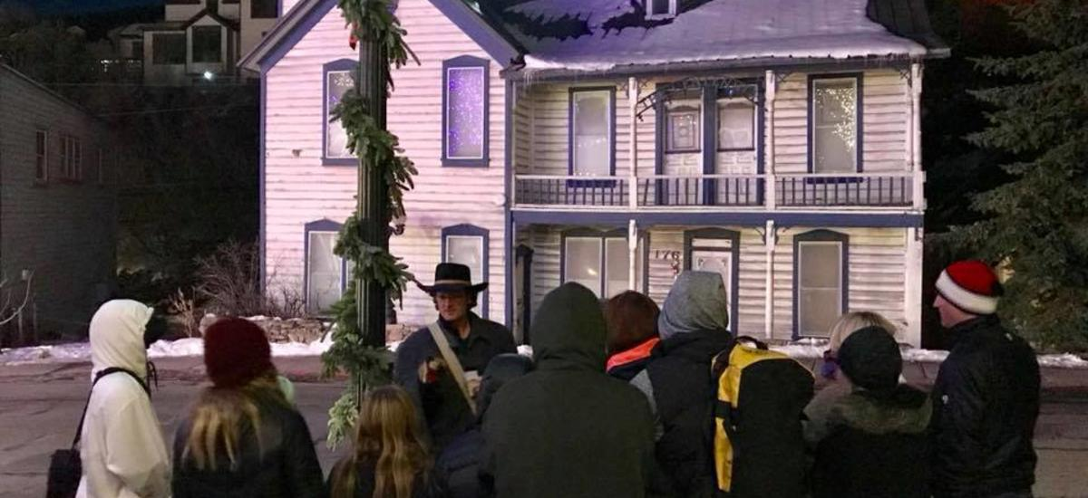 Park City Ghost Tour, Host speaking to a group at night