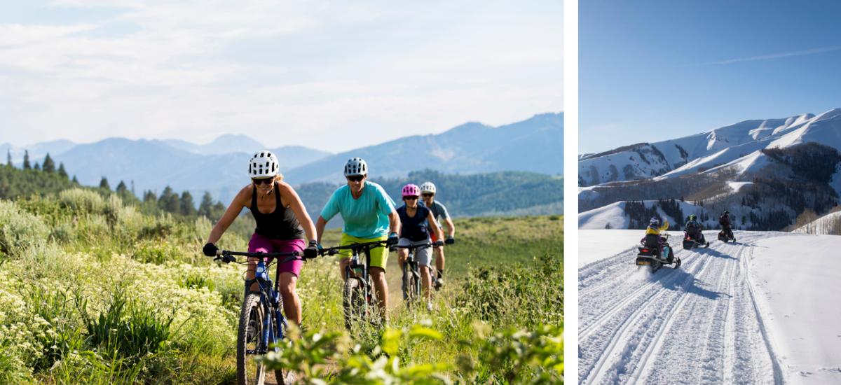 Three mountain bikes riding through a field. Three people snowmobiling on a snowy mountain