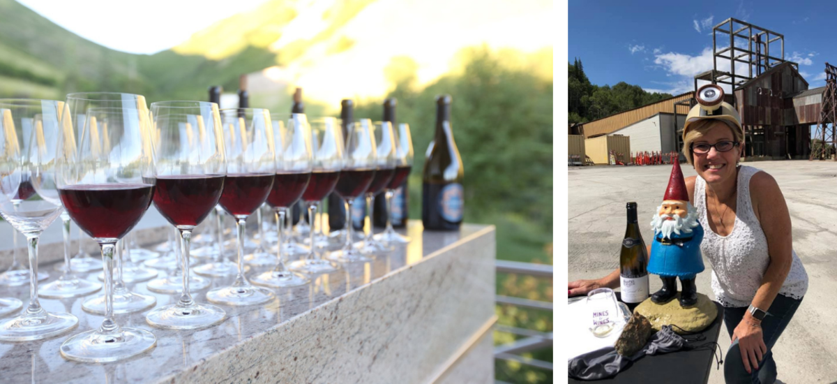 Wine tasting glasses and owner Kirsten Fox on the Wines and Mines tour