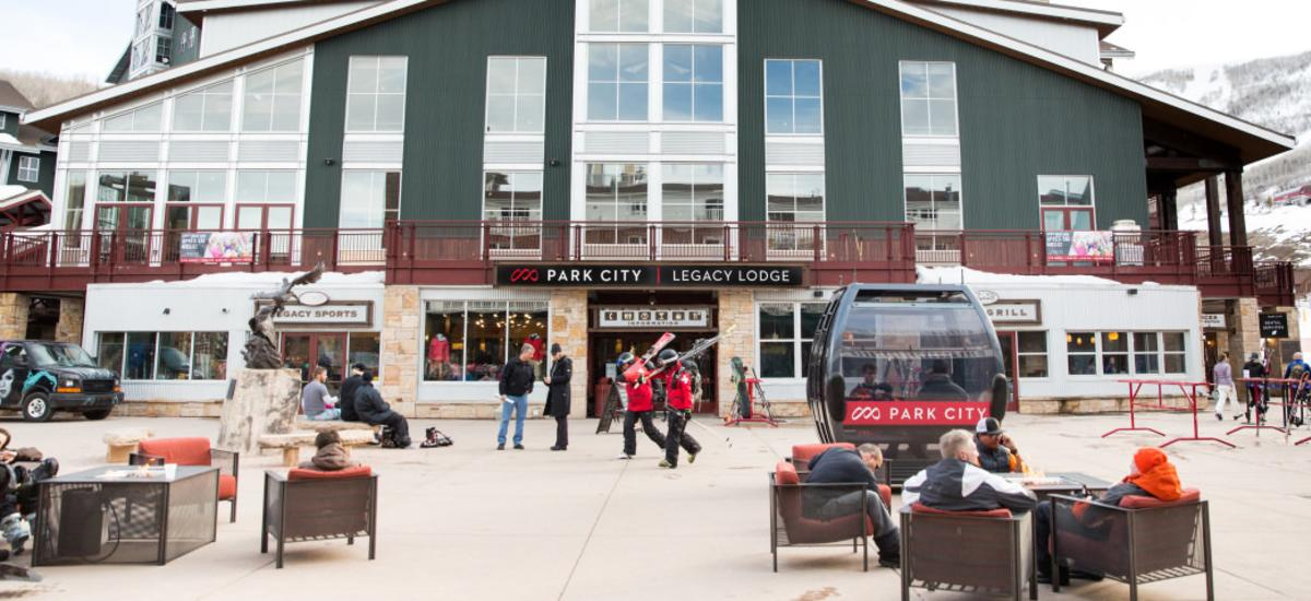 People enjoying an afternoon at Legacy Plaza at Park City Mountain