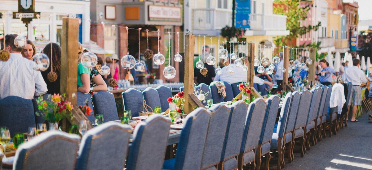 Contiguous Dining Table on Main Street During Savor the Summit Event