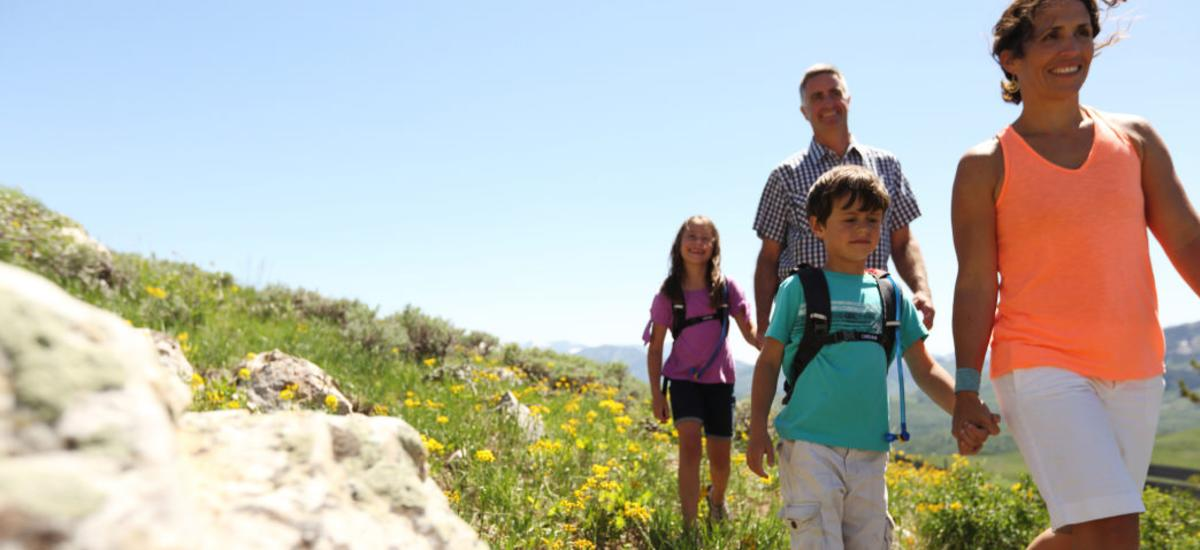 A Family Hiking in Park City, Utah