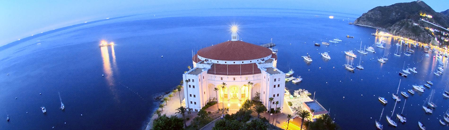 Aerial view of Catalina Casino at dusk on Catalina Island