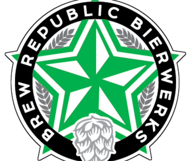"A green and white star with gray hops and wheat grains surrounded by the words ""Brew Republic Bierwerks"""