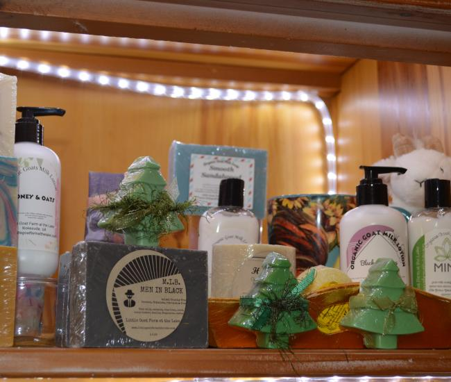 display of lotions and soaps from The Little Goat Farm at the Lake