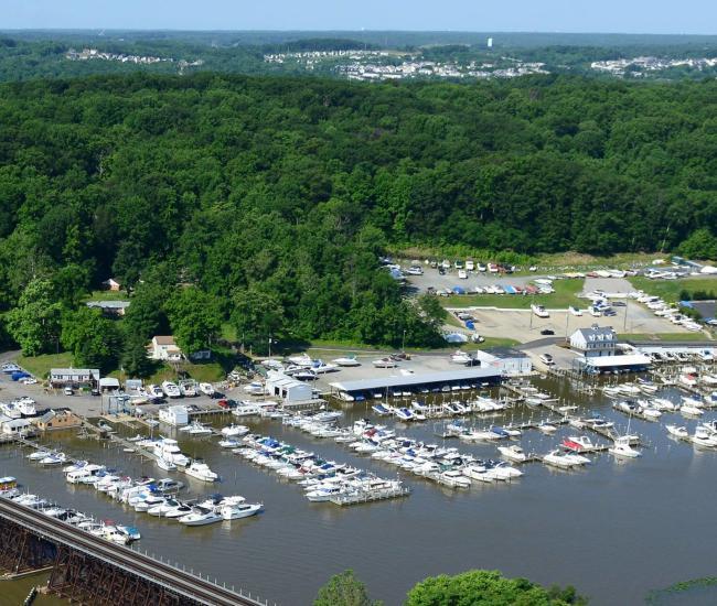 aerial view of Hampton's Landing Marina