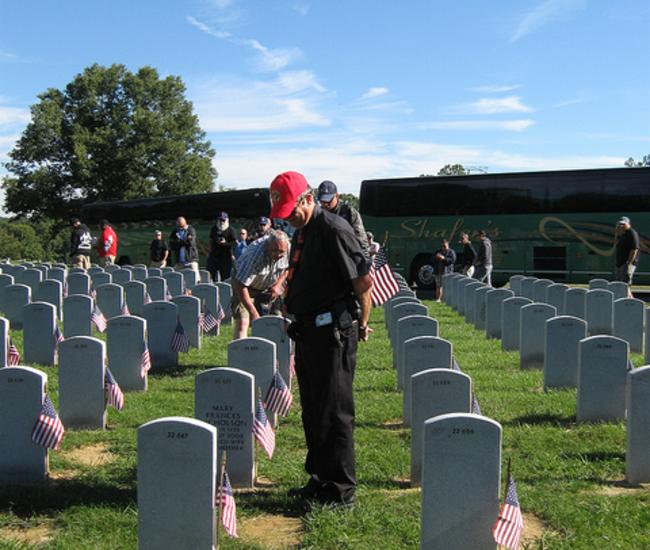 Military Reunion group touring Quantico National Cemetery