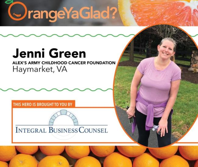 Story of local hero Jenni Green who assisted with Alex's Army - Childhood Cancer Foundation.  Image of Amy, and oranges at bottom of screen.