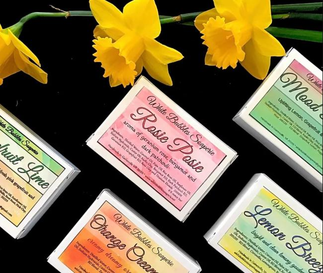 5 Organic Allure soaps on display