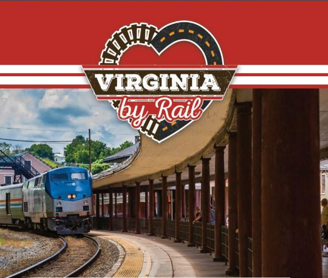 Virginia By Rail logo of a train arriving at a train platform