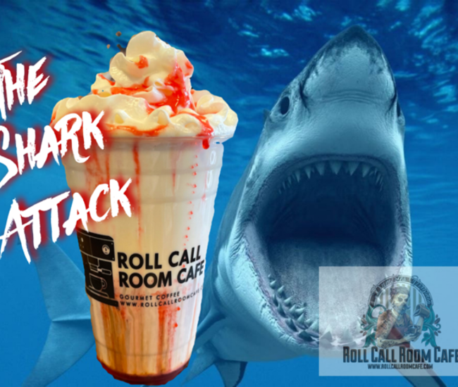 The Shark Attack Iced Coffee Drink with shark image in background