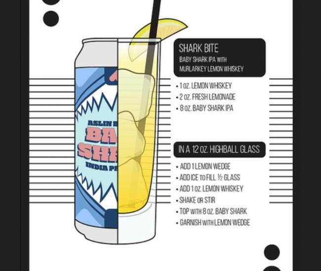 Recipe card for beer/spirits mixture for MurLarkey's Shark Bite