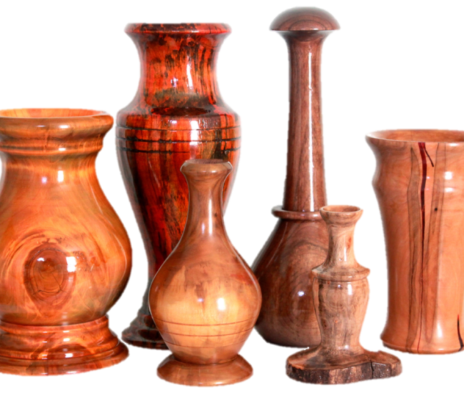 A selection of hand-carved vases and candlesticks from Marin Woodturning