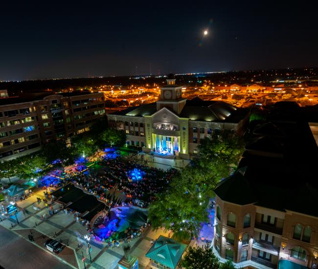 Aerial of Night Time Event - Sugar Land Town Square