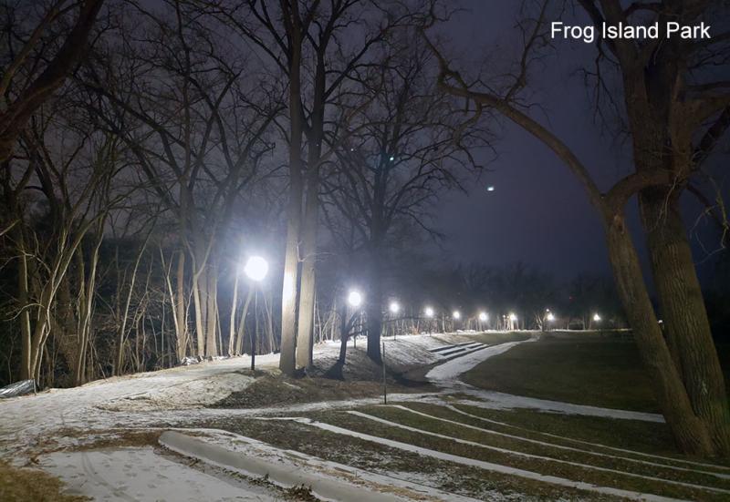 New lights in Frog Island Park, Ypsilanti, MI